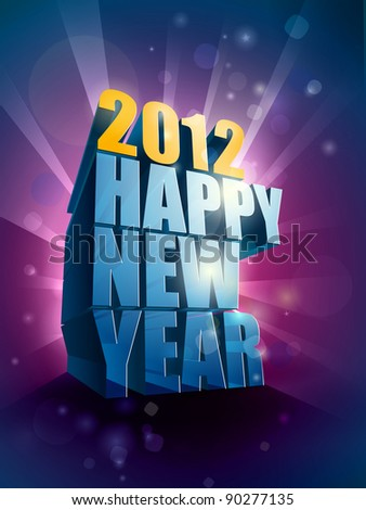 2012 Happy New Year greeting illustration | editable EPS 10 vector - stock vector