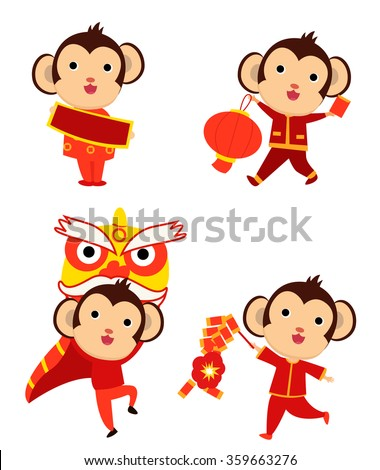 2016 Happy New Year greeting - the year of monkey - stock vector