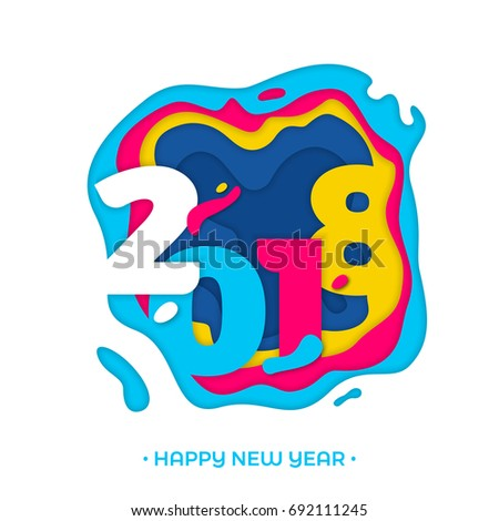 2018 Happy New Year Holiday Greeting Stock Vector 692111245 ...