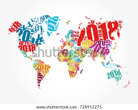 2018 happy new year shape world vectores en stock 728912275 2018 happy new year in shape of world map typography word cloud collage concept gumiabroncs Gallery