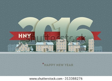 2016 Happy New Year in town. Vector greeting card design element. - stock vector