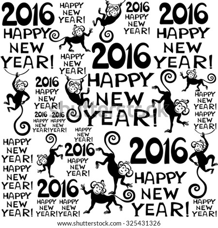2016 Happy New Year! Seamless black and white pattern. Background with monkeys. Symbol of 2016 year. Vector Illustration - stock vector
