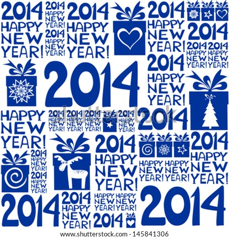 2014 Happy New Year! Seamless blue pattern. Vector illustration