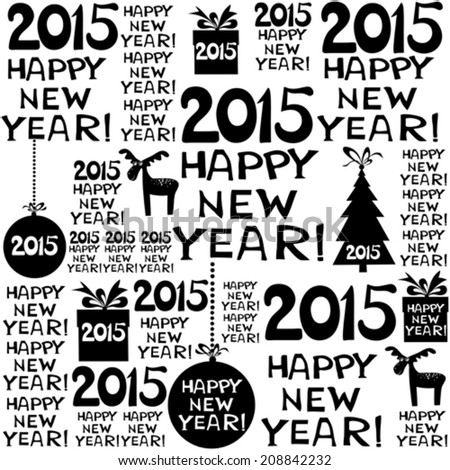 2015 Happy New Year! Seamless  pattern. Vector illustration