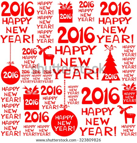 2016 Happy New Year! Seamless red pattern. vector illustration