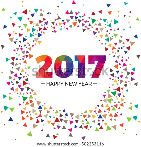 2017 Happy New Year text colorful scatter effect graphics design