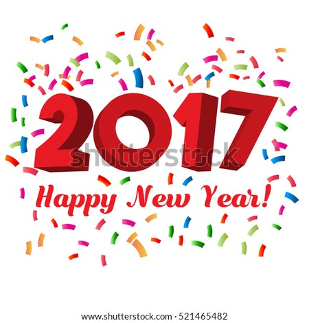 2017 Happy New Year Text with Confetti | Vector Illustration