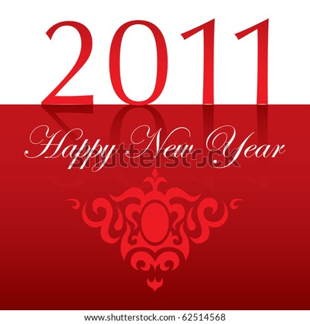 2011 Happy New Year text with ornament red - stock vector