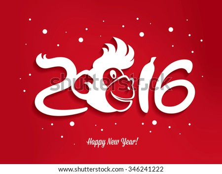 2016. Happy New Year. The New Year of Monkey - stock vector