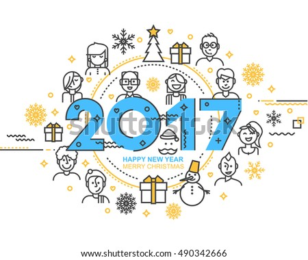 2017 Happy New Year trendy and minimalistic card or background. Modern Thin Contour Line Design Concept. Flat, outline. Vector Illustration Isolated on white background.