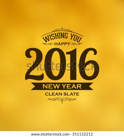 2016 - Happy New Year - Typographic Design on Yellow Background - stock vector