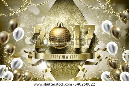 2017 Happy New Year with golden bauble and balloon background