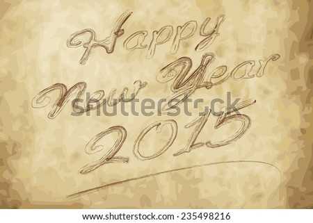 2015 Happy new year with handwriting vector - stock vector