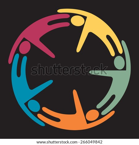 5 happy people of different color dancing around - stock vector