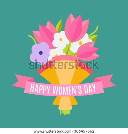 Happy women's day. Beautiful wedding bouquet isolated on background in a flat style. Wedding flat flowers congratulation card isolated. Vector illustration. EPS 10