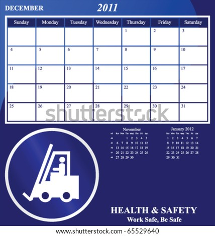 2011 Health and Safety calendar for the month of December - stock vector