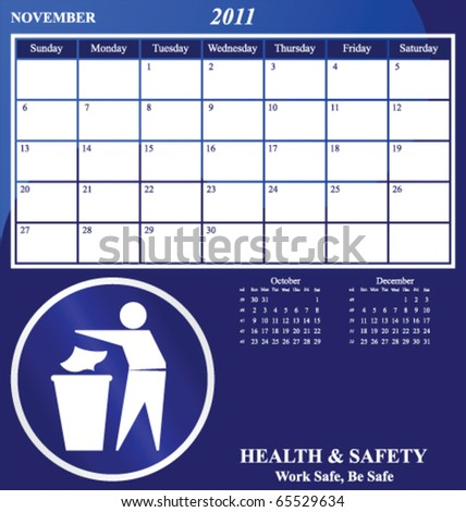 2011 Health and Safety calendar for the month of November - stock vector