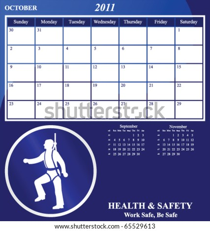 2011 Health and Safety calendar for the month of October - stock vector