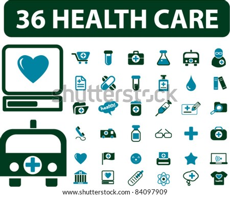 36 health care icons, signs, vector illustrations - stock vector