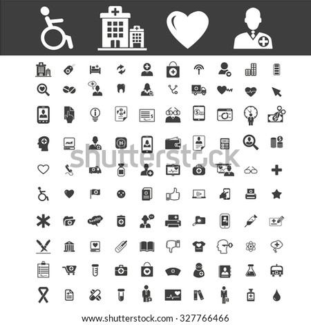 100 health care, medicine, medical icons - stock vector
