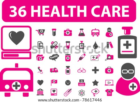 36 health care & medicine signs, icons, vector - stock vector