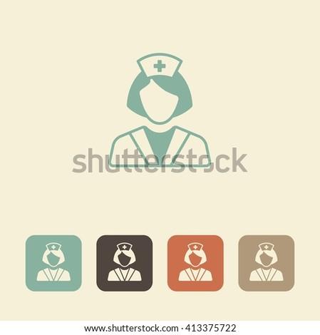 Health care worker icon. Nurse vector illustration - stock vector
