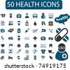 50 health & medicine icons, signs, vector - stock vector