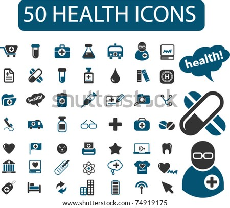50 health & medicine icons, signs, vector - stock vector