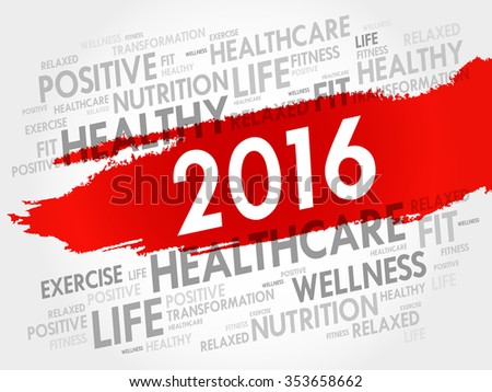 2016 health word cloud, concept background - stock vector