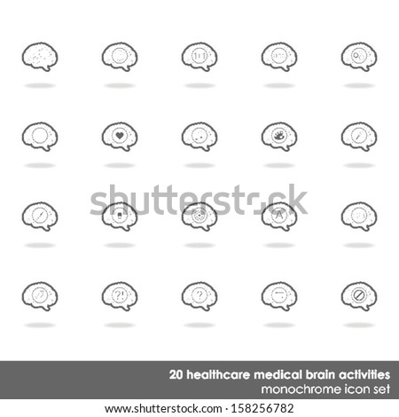 20 healthcare medical brain activities icon set border line on white background with shadow  - stock vector