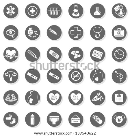36 healthcare medical woman pregnancy baby monochrome isolated gray flat icon set with light shadow on white background - stock vector