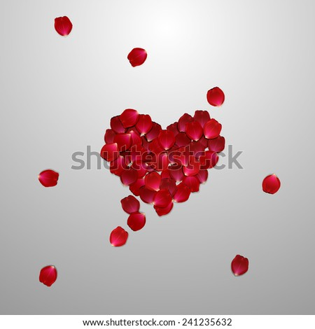 heart of red rose petals . valentine`s card with heart on the white background - stock vector