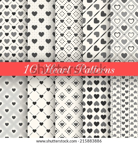 10 Heart shape vector seamless patterns. Black and white colors. Endless texture can be used for printing onto fabric, paper or scrap booking. Valentines day background for invitation. Vintage style. - stock vector
