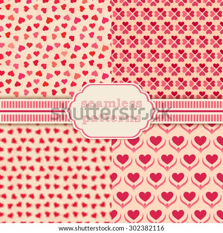 Heart shape vector seamless patterns. Cover for Valentines day background design - stock vector