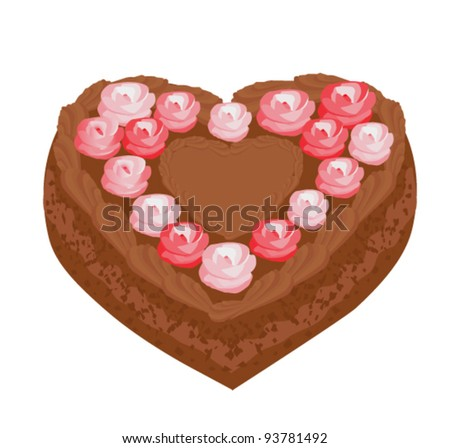 heart shaped valentine cake with roses - stock vector