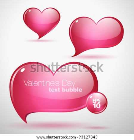 Heart shaped vector text bubbles