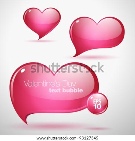 Heart shaped vector text bubbles - stock vector