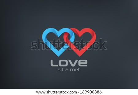 2 Hearts loop locked vector logo design template. Forever Love marriage wedding concept icon.  Couple in Love - married symbol. Happy Valentine's day! Find your Love! - stock vector