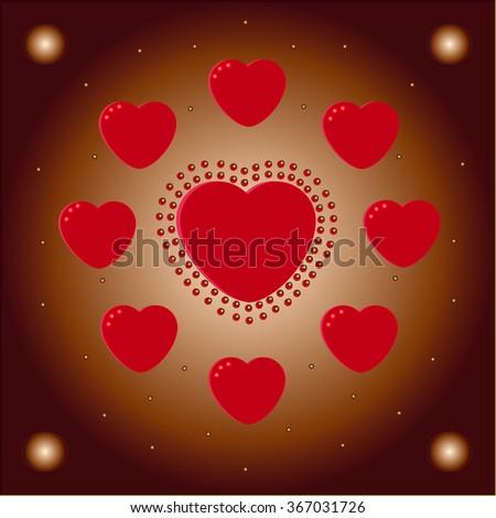 Hearts love background, vector love illustration. - stock vector