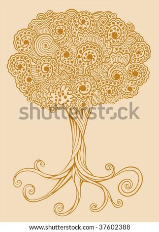 Henna doodle Tree vector - stock vector