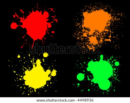 4 Hi colour Neon Splats. (Isolated Vectors and on separate layers)  Can be overlayed on other Illustrations or Images. - stock vector