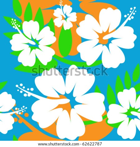 Hibiscus flower seamless Background - stock vector