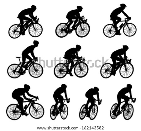10 high quality racing bicyclists silhouettes - stock vector