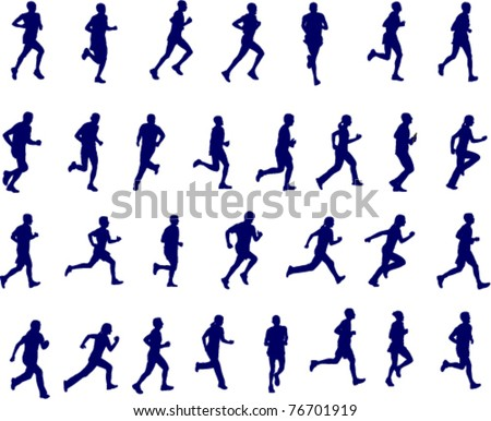 30 high quality silhouettes of people running - vector illustration - stock vector