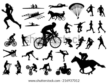 30 high quality sport silhouettes - stock vector