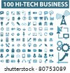 100 high technology business icons, signs, vector illustrations - stock photo