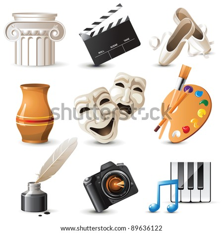 9 highly detailed  arts icons - stock vector