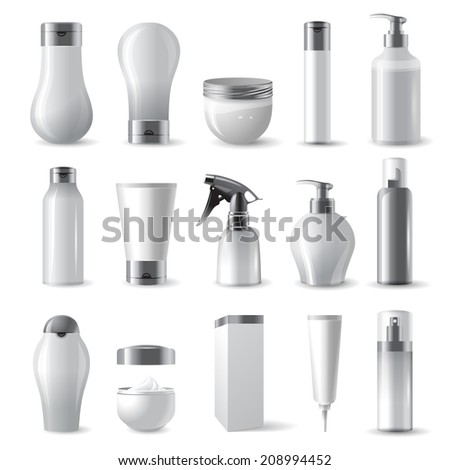 15 highly detailed cosmetics package icons - stock vector