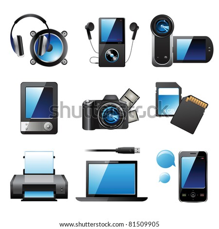 9 highly detailed electronic devices icons - stock vector