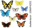 9 highly detailed realistic butterfly icons - stock vector